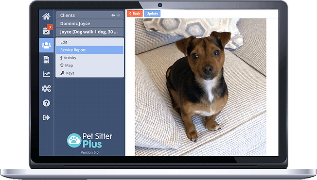 Laptop displaying Pet Sitter Plus dog walking software