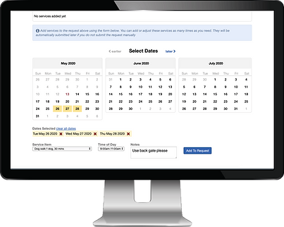 Computer showing client portal requesting service by time for dog walkers and pet sitters