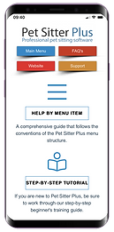 Mobile showing knowledgebase website for dog walking software from Pet Sitter Plus