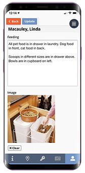 Mobile showing the pet visit routine for dog walking software from Pet Sitter Plus