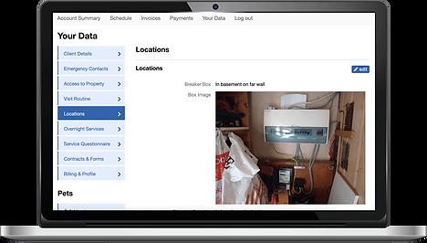 Laptop showing options for storing information in Pet Sitter Plus dog walking software