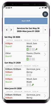 Mobile phone showing the staff dashboard for dog walking and pet sitter software