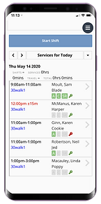 Mobile showing new releases of dog walking software from Pet Sitter Plus