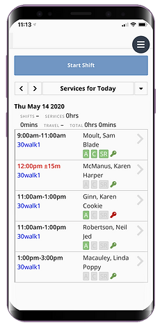 Mobile showing the staff dashboard for dog walking software from Pet Sitter Plus