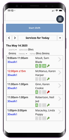 Staff dashboard for dog walking on the mobile