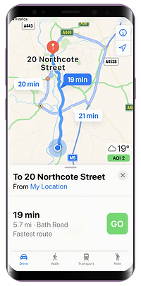 Mobile showing navigating to the client address for pet sitters and dog walkers