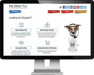iMac showing knowledgebase website for dog walking software from Pet Sitter Plus