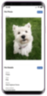 Mobile showing pet profile in client portal for dog walking software in Pet Sitter Plus