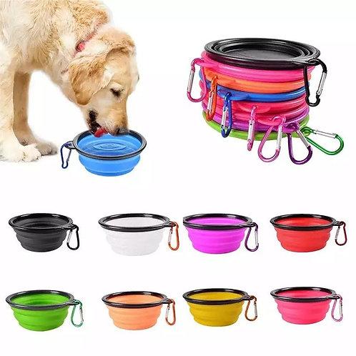 Plato de silicon plegable para mascotas