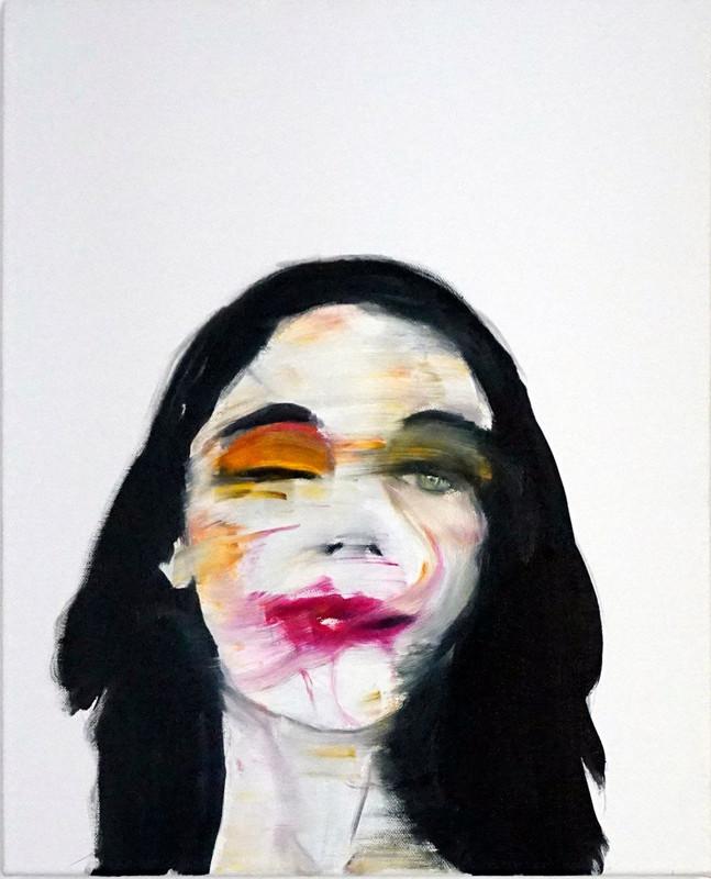 """Study for a portrait -PJ Harvey - 40x50cm - oil on canvas - 2017  Todays Paintings """"Still live/art reports"""" organizzato da Sixeleven presso Galleria d'arte Gagliardi & Domke durante il """"Todays Festival"""" - settembre 2017"""