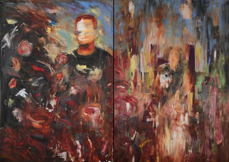 """picnic"" oil on canvas, diptych, 70x100x2cm each, 2016"