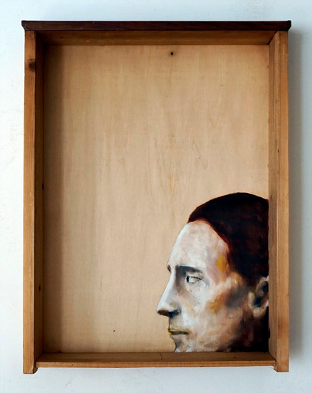 Marcel D. - oil painting on old drawer - 2016