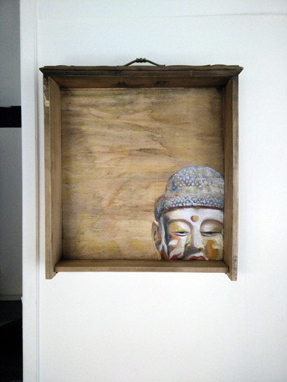 Buddha head study- oil painting on old drawer - 2016