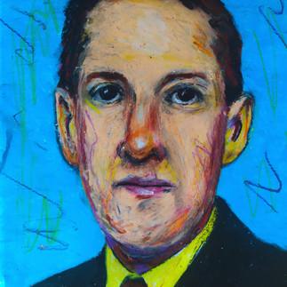 """""""Howard Phillips Lovecraft"""" pastello ad olio su carta 30x30cm 2021"""