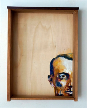 Hans Jean A. - oil painting on old drawer - 2016