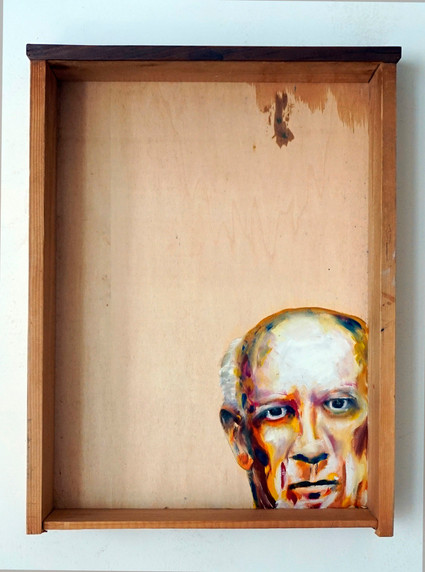 Pablo P. - oil painting on old drawer - 2016