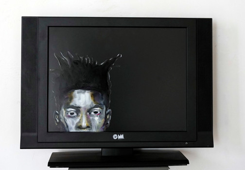 Jean-Michel B. - oil on tv screen - 2016