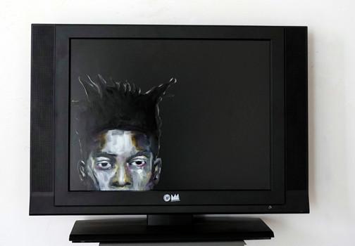 Jean-Michel B. - oil on tv screen - 2016