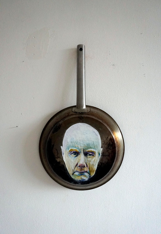 Irvine Welsh Portrait - oil pastel on cooking pan - 2019
