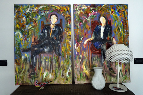"""""""neverendwainting"""" oil on canvas, diptych, 70x100x2cm each, 2016"""