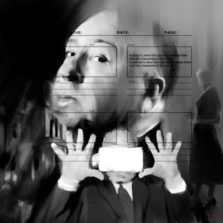 """""""Tribute to Alfred Hitchcock"""" digital painting (02-21)"""