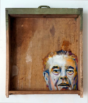 Renè M. - oil painting on old drawer - 2016