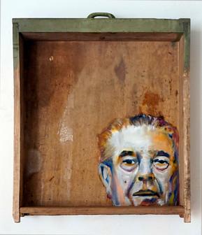 Renè M. - oil painting on old drawer - 2016