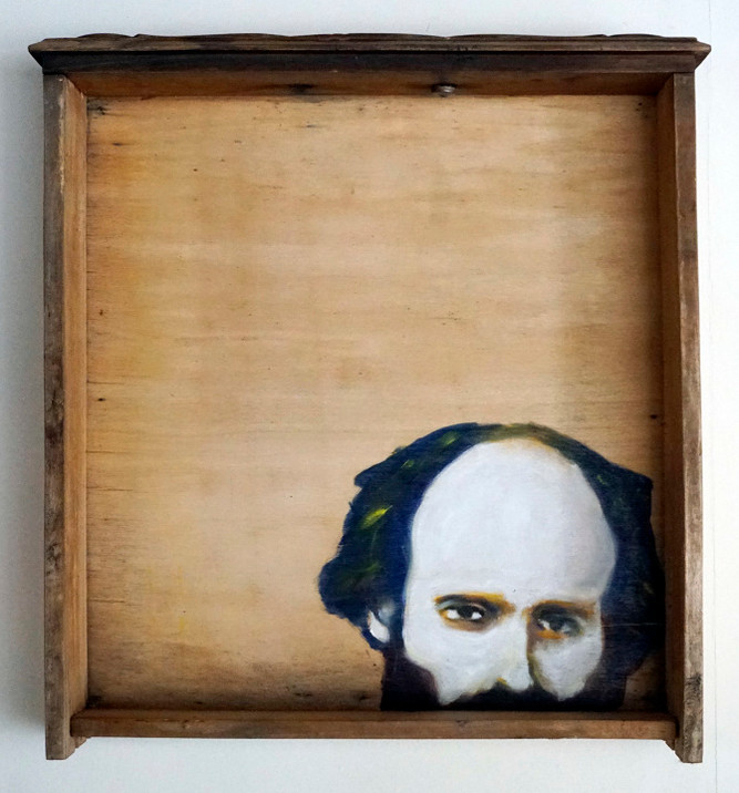- oil painting on old drawer - 2016