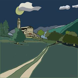 """Night landscape""33x33cm 280820"