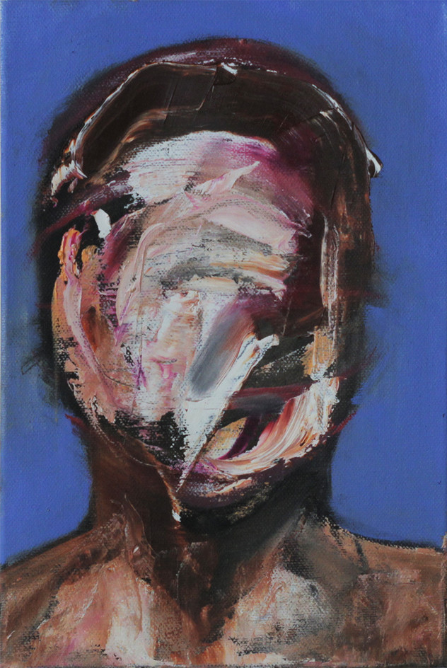self-portrait as a holy night & a sinner day, oil on canvas 28x35cm 2016 from the Blue series