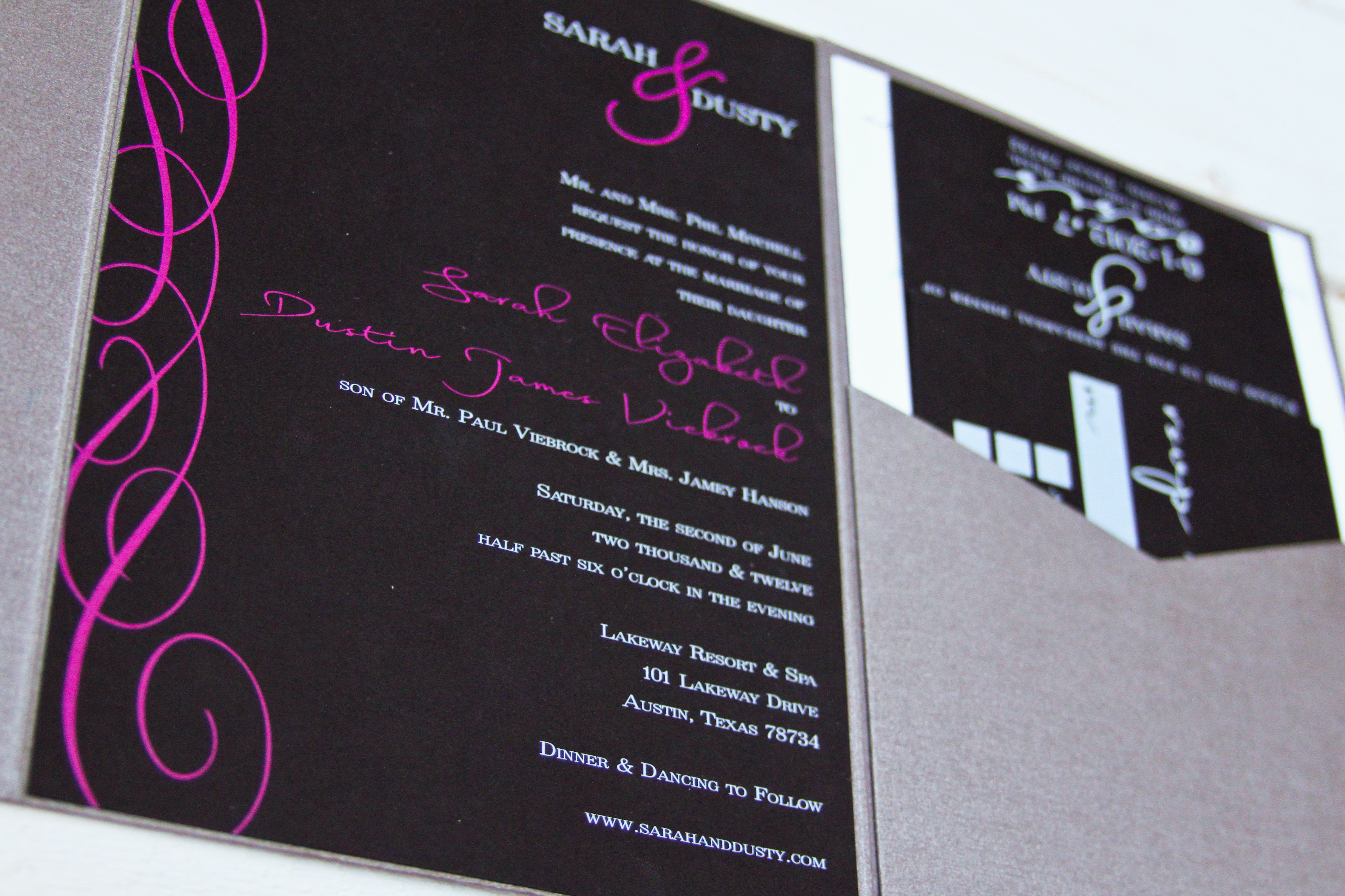 Black, Pink, and White Invitation