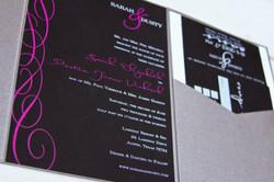 Black, Pink, and White Invitation