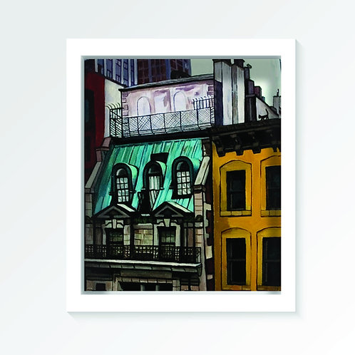 """Cat on the roof - Gicle print (12W x 16H"""")"""