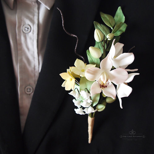 Orchid Sugar Flower Boutonniere