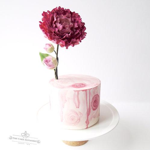Pastel Watercolour Cake with Sarah Bernhardt Peony