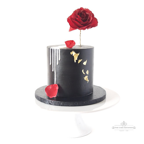 Contemporary Finishes; Black Ganache and Wafer Paper Rose