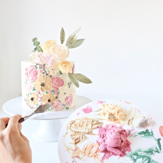 Painted Buttercream Flowers