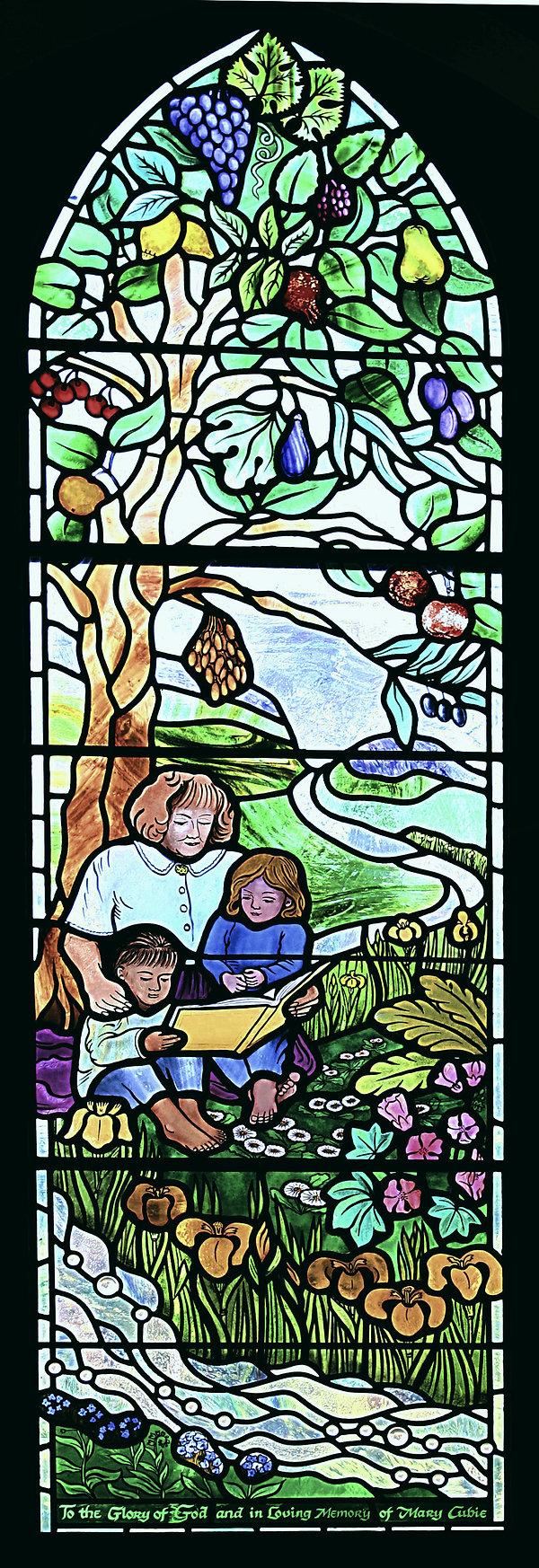 Mary Cubie Alloway Parish Church Teacher Revelation Ephesians Tree of Life Water of Life Fruit Ayrshire Holy Land Susan Bradbury Stained Glas Window