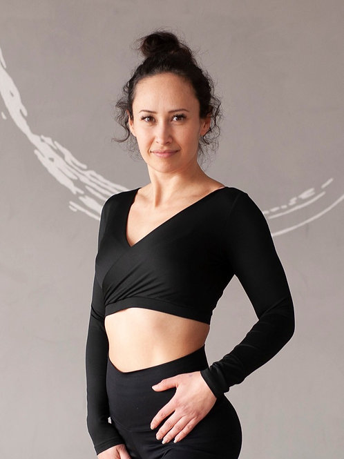 POLEDANCERKA - Long Sleeve Ballerina Top - Black