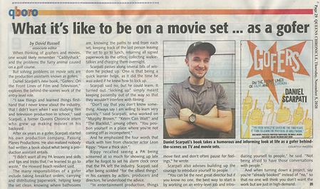 """Daniel Scarpati's new book, """"Gofers: On the Front Lines of Film and Television"""" as featured in the Queens Chronicle (QChron) newspaper."""