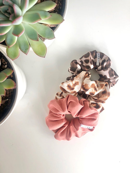 Leopard print scrunchie handmade Ang Hill