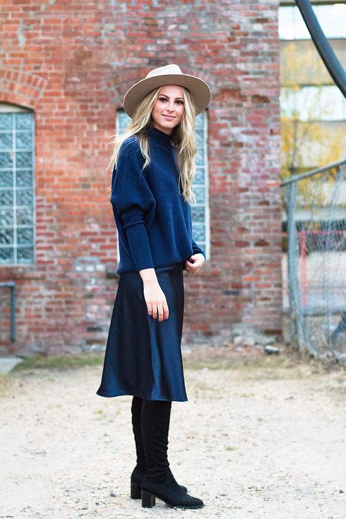 Melanie Midi Skirt in Navy Satin