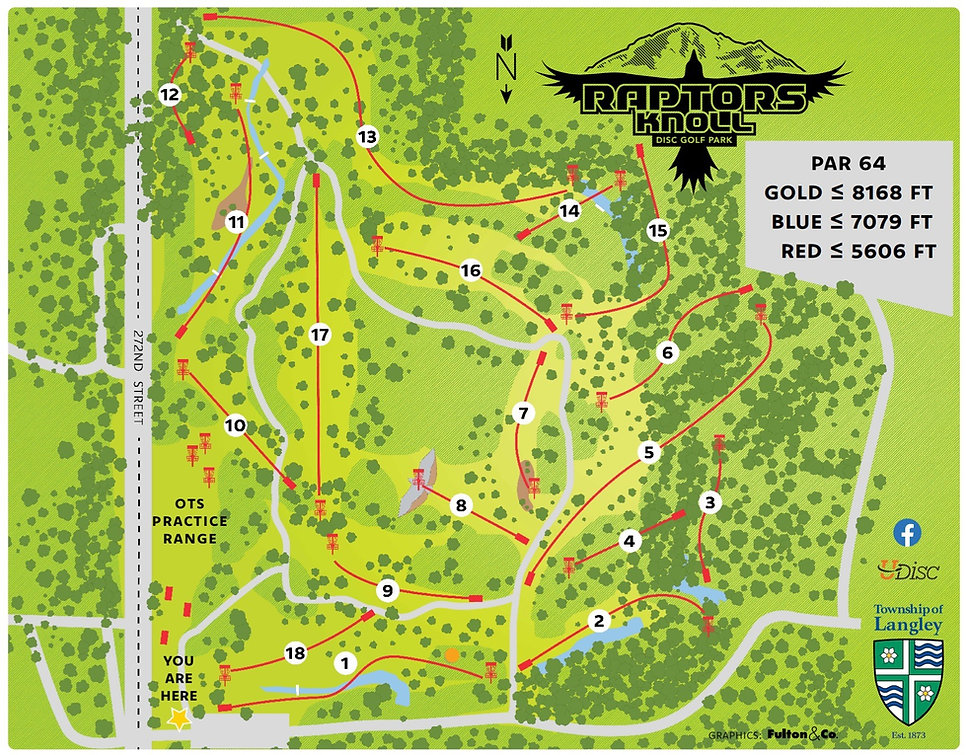 Raptors Knoll Disc Golf Park Course Map
