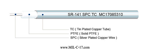 SR-141 SPC TC Semi-Rigid RF Cable with Tin Plated Copper Tube, SR141 SPC TC