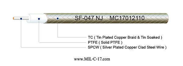 Low PIM SF-047 NJ Semi-Flexible ( Hand-Formable ) Coaxial Cable without Jacket, SF047 NJ