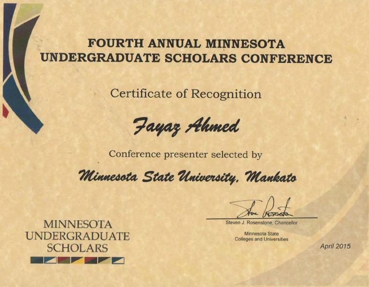 Fourth Annual Minnesota Undergraduate Scholars Conference 2015
