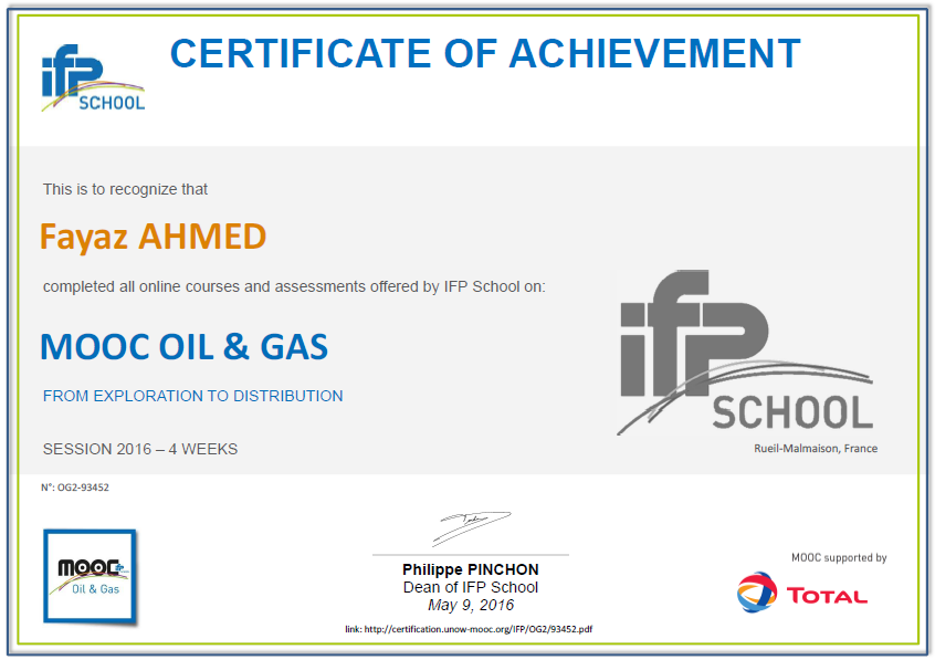 MOOC Oil and Gas 2016 by IFP School France