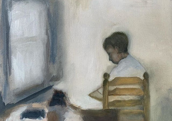 "Oil study ""Boy in interieur"""