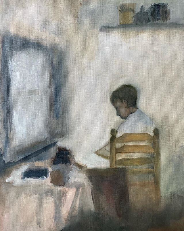"Oil study ""Boy in interieur"""