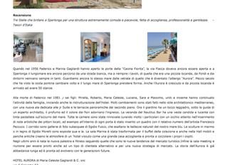 """Hotel Aurora attestato """"Tesori d'Italia""""."""
